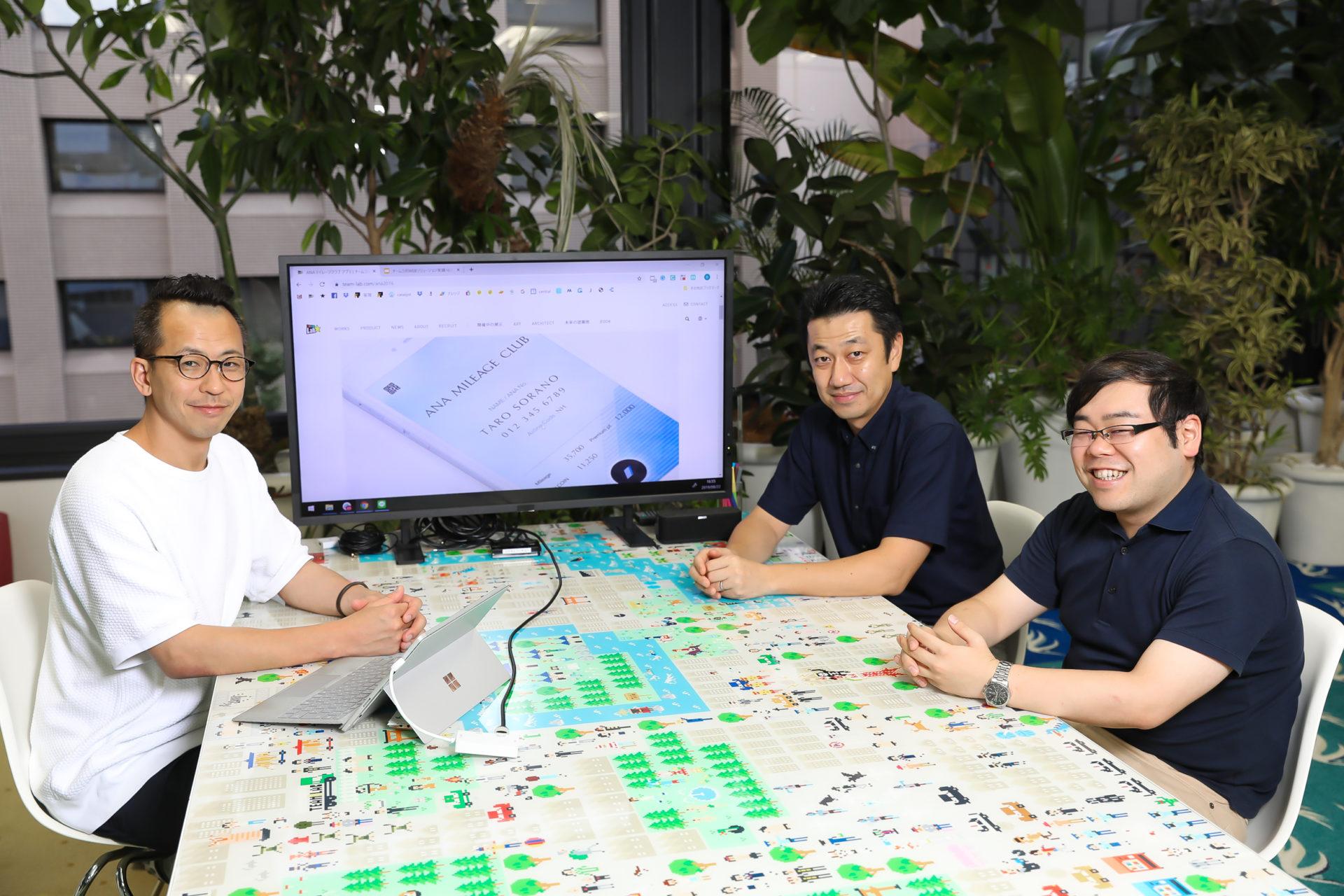 チームラボ:取締役 Director, Co-Founder 堺大輔氏、アールストーン:代表取締役 吉岡誠司、コンサルタント 高山勇気